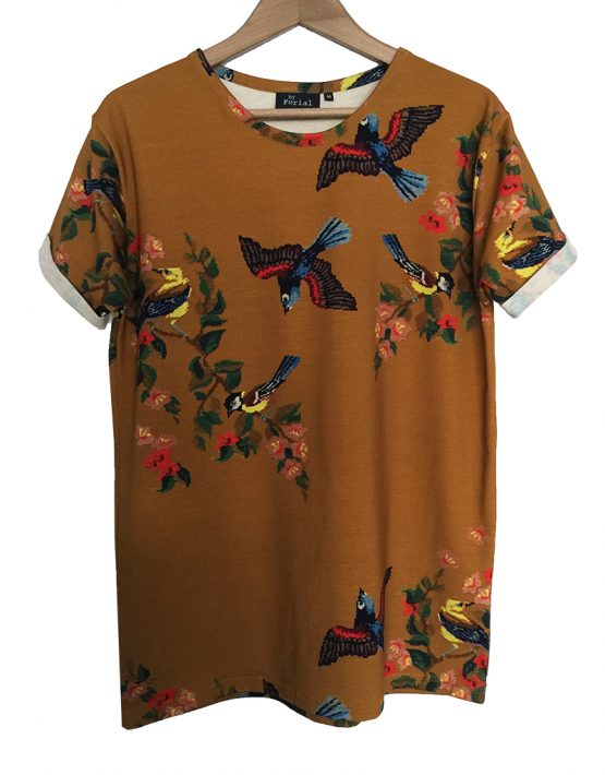 ochre camel embroidered tee 1