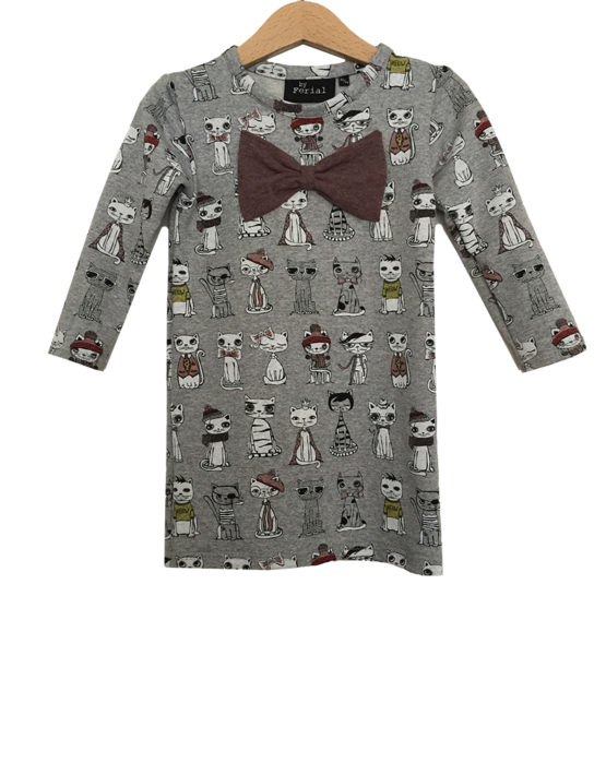 jogging cats dress bow1
